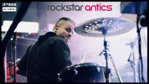 Rockstar Antics founder playing drums